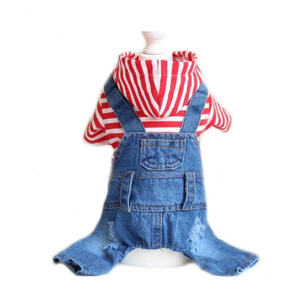 Pet Dog Cat Romper Denim Red Stripe Jeans