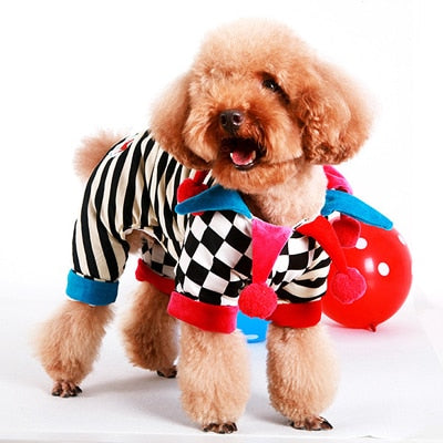 Colorful Pet Dog Cotton Clothing Stripe Square Clown Jumpsuit