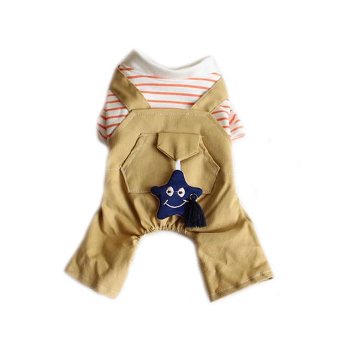 New Dog Cat Striped Jumpsuit Rompers Star Pet Puppy T-Shirt
