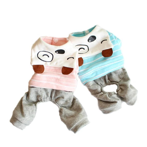 Stripe Pet Dog Cotton Jumpsuits Puppy Cat Coat