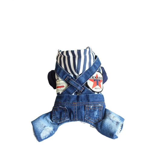 Dog Jumpsuits Jean Hoodies Vertical Stripes