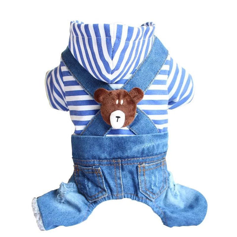 Pet Dog Jumpsuit Denim Cute Bear Stripe Puppy Cat