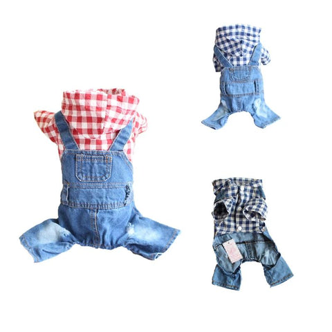 Denim Dog Jumpsuit Stripe Jeans