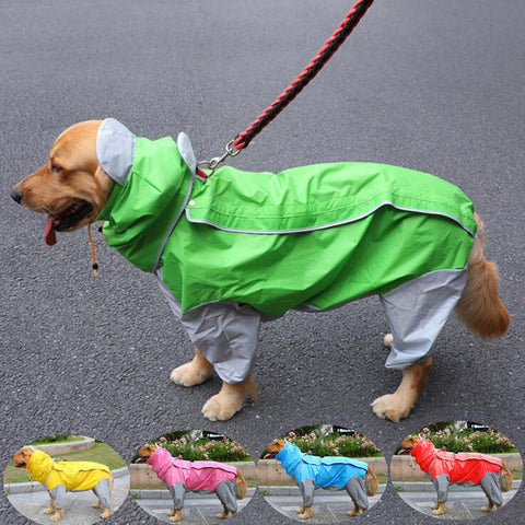 Dog Raincoat Hooded Pet Coat Jumpsuit