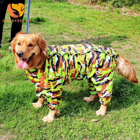 Summer Large Dog Camouflage Raincoat
