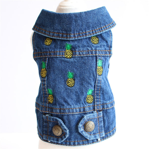 Cute Pineapple Embroidered Pet Dog Clothes Jeans