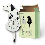 White/Black Wagging Tail Cat Dog Design Wall Clock