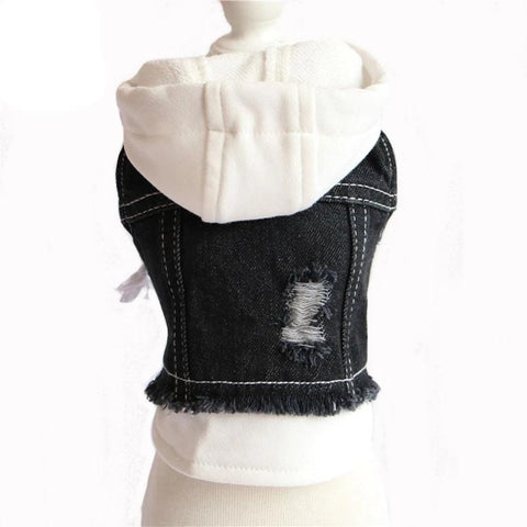 Pet Clothes Hole Cowboy Jean Clothes Stitched Denim Jacket For Small Dogs