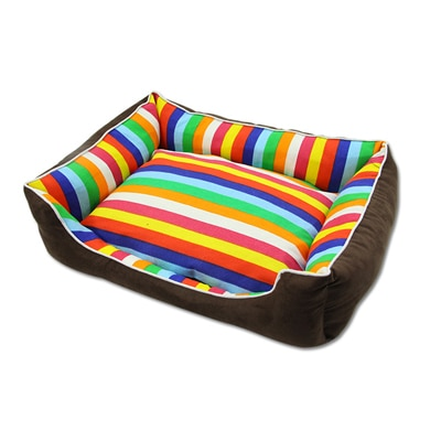 Fashion Rainbow Color Stripe Comfortable Cat Puppy Dog Bed