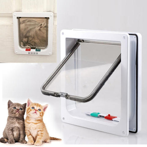 Pet Cat Gates Dog Door 4 Way Lockable