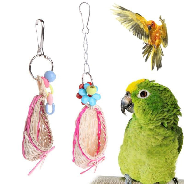 Cute Birds Toy Natural Mini Straw Slipper Pendant