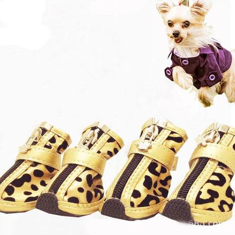 Dog Shoes Leopard Pattern