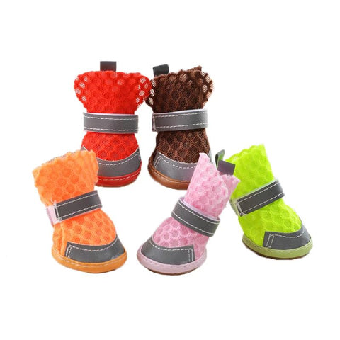 4pcs/Set Pet Dog Shoes Mesh Breathable Reflective Booties