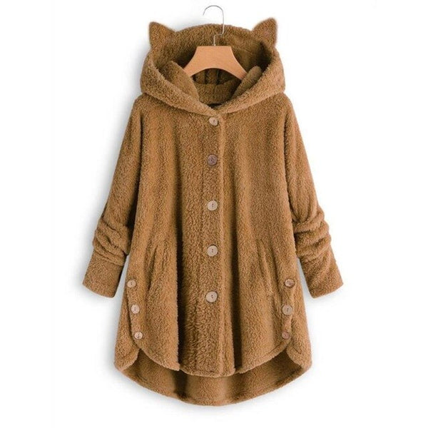 Women Plus Size Winter Warm Soft Button Pocket Overcoat Jacket