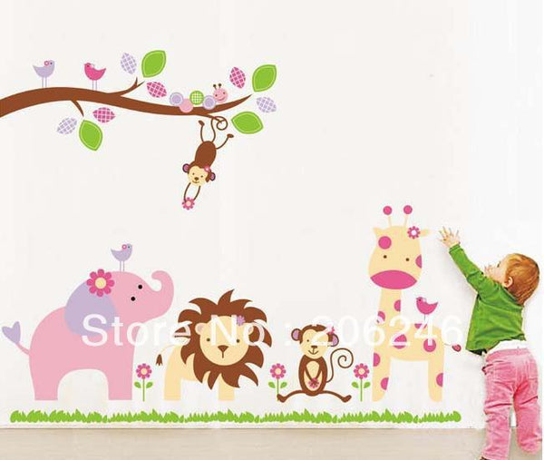 Cute 9052 World of Animal Wall Stickers