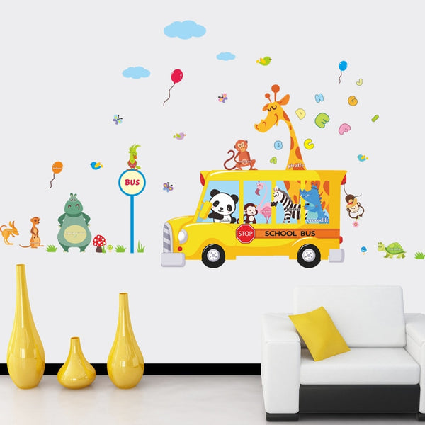 Cartoon Animals School Bus Wall Stickers