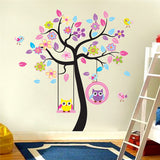 Pink tree swing owl children room of household adornment wall stickers