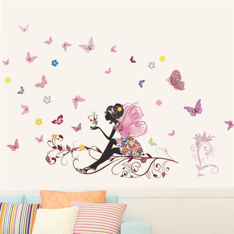 Beautiful Girl Butterfly Flower Art Wall Sticker