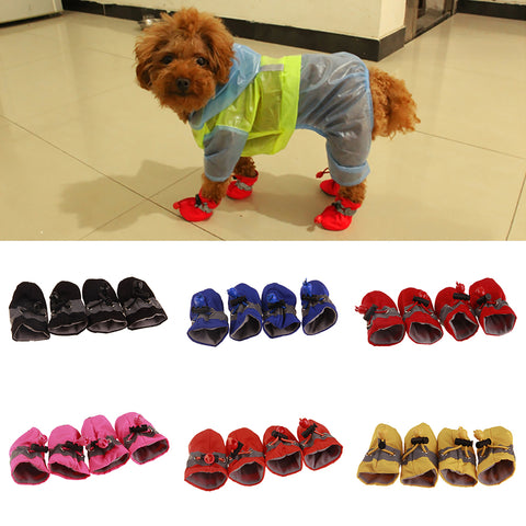 4 pcs Waterproof anti-slip dog shoes