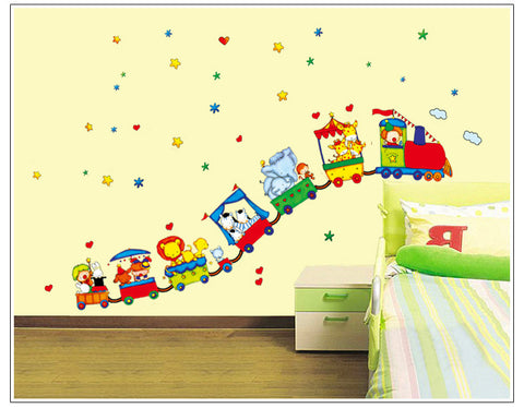 Animal Circus Train Children DIY Removable Wall Stickers