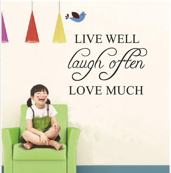 LIVE WELL LOVE MUCH Characters Letter Wall Sticker