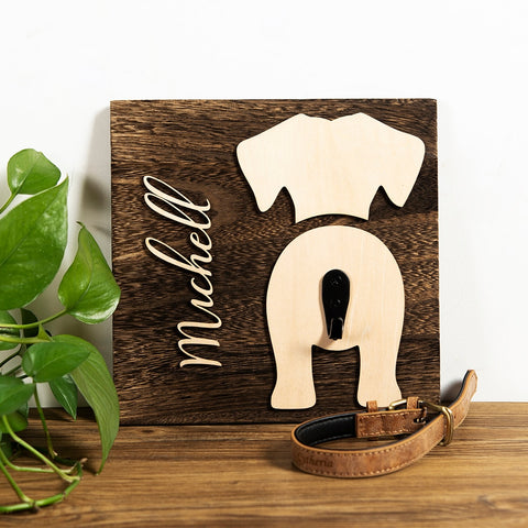 Custom Wood Dog Personalized Leash Holder