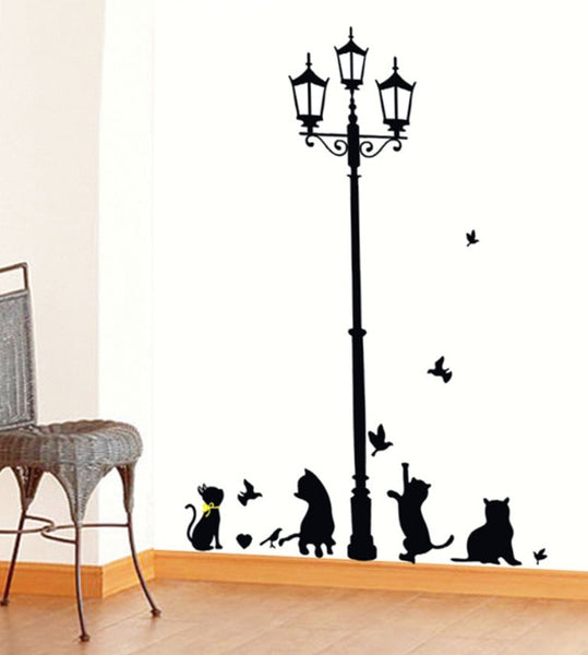 New Hot Naughty Cats Birds and Street light Lamp Post Wall Stickers