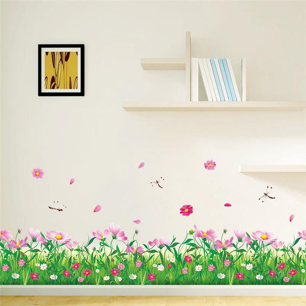 cosmoses flowers fences baseboard stickers