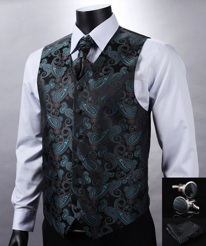 Green Black Design Wedding Men 100%Silk Waistcoat Vest