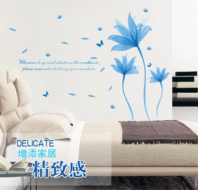 Blue dream flower can remove the wall stickers