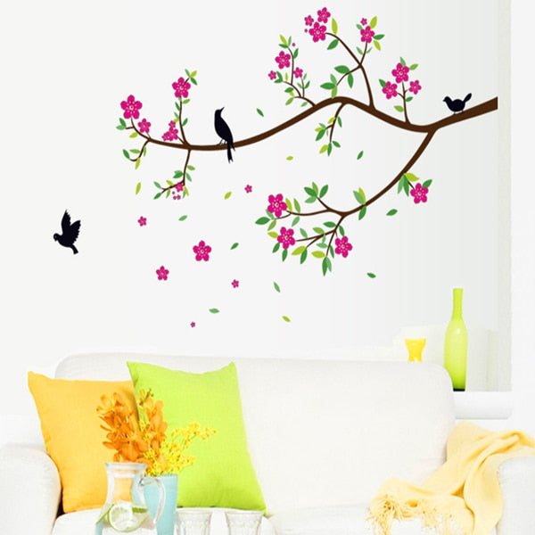 Branches of flowers birds sitting room wall stickers