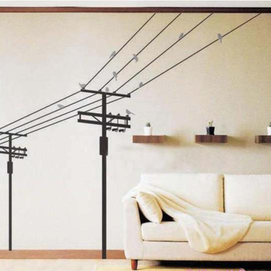 black electric pole with big birds modernism wall decal stickers