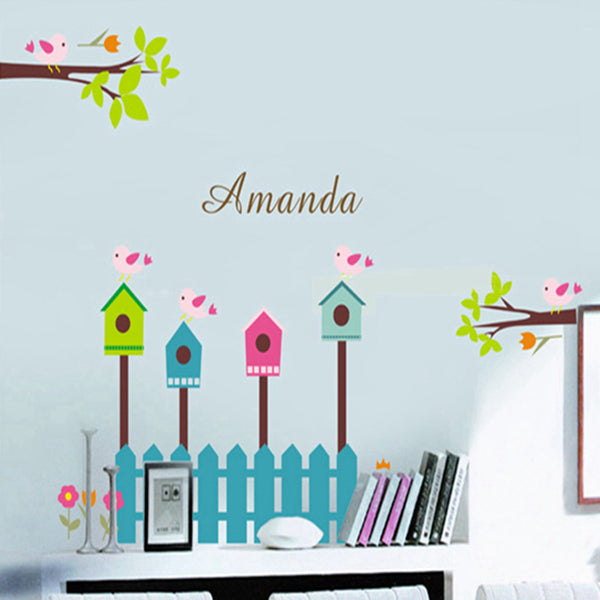 Fence tree children in kindergarten background wall stickers