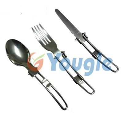 Outdoor Stainless Steel Folded Fork Spoon Knife Picnic Camping  Dinnerware Tableware