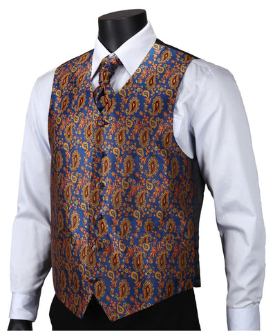 Aqua Orange Paisley Top Design Wedding Waistcoat Vest
