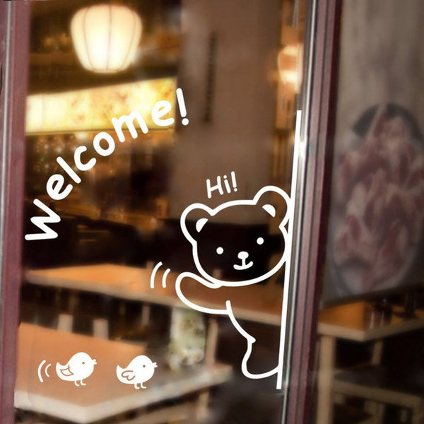 "Cute Bear ""Welcome"" Bird For Glass Backdrop wall stickers"