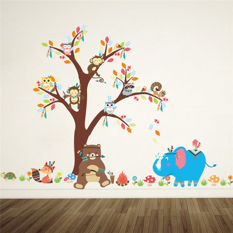 Cartoon Forest Animals Owl Monkey Bear Elephant Tree Wall Stickers