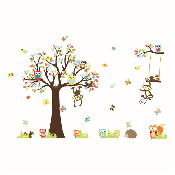 lovely monkeys tree wall stickers