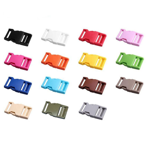 50pcs Plastic Buckles 25mm 15 Colors Dual Adjustable Side Release Buckles