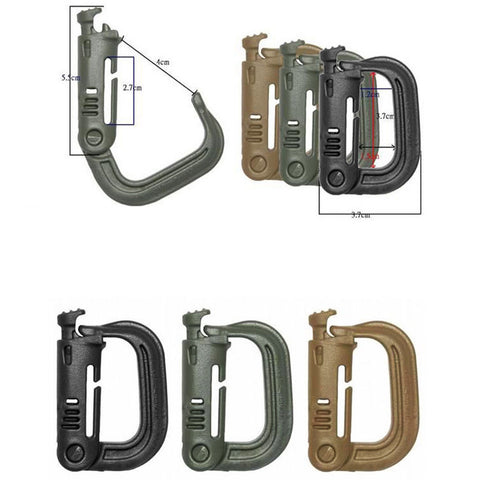 10 pcs/lot Grimloc D shape carabiner buckle