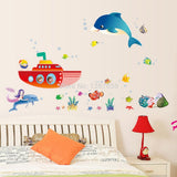 The dolphin Mermaid ship bedroom/parlour Background wall sticker