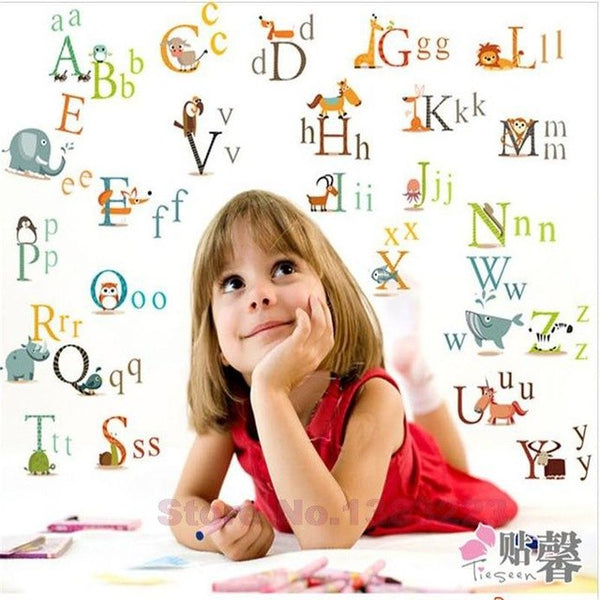 DIY Cartoon English alphabet 'ABCD' vinyl wall stickers