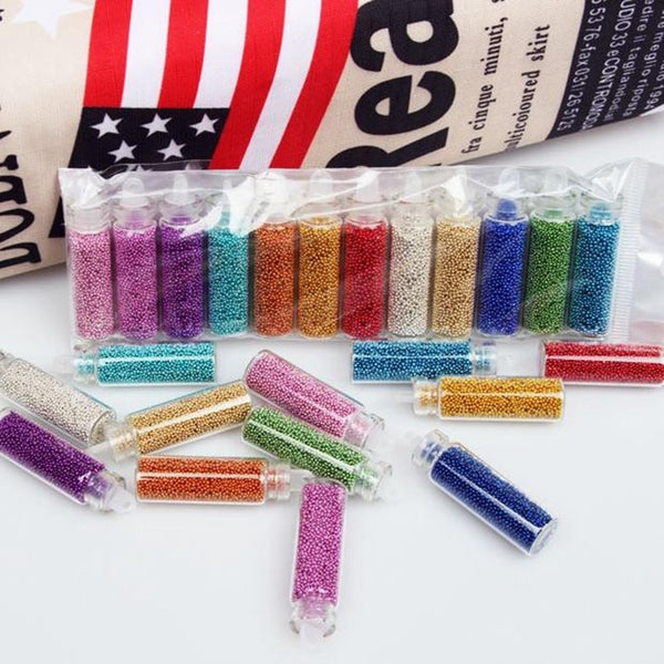 Blueness 12 Colors 3D Caviar MiNi Beads Nails