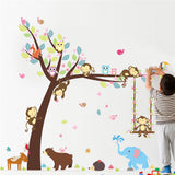 Forest Animals Tree wall stickers for kids room Monkey Bear Jungle wild Children Wall Decal