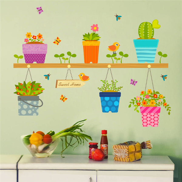 Home Decor Potted Flower Pot Window Glass Wall Stickers