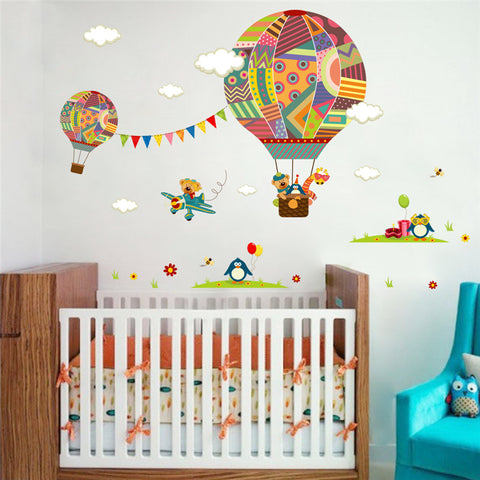 colorful Hot Air Balloon Animal Nursery Room wall sticker
