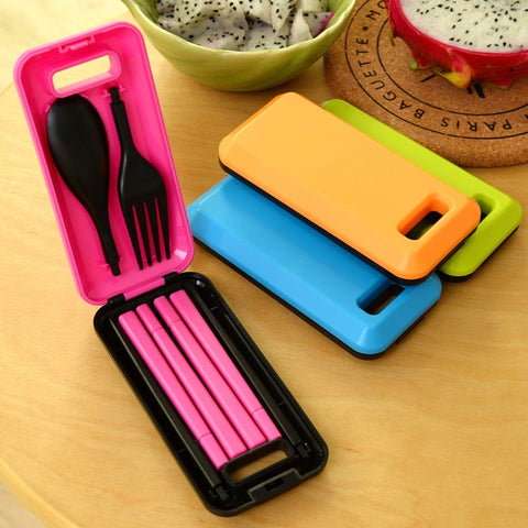 3 pcs Portable Reusable Spoon Fork Chopsticks