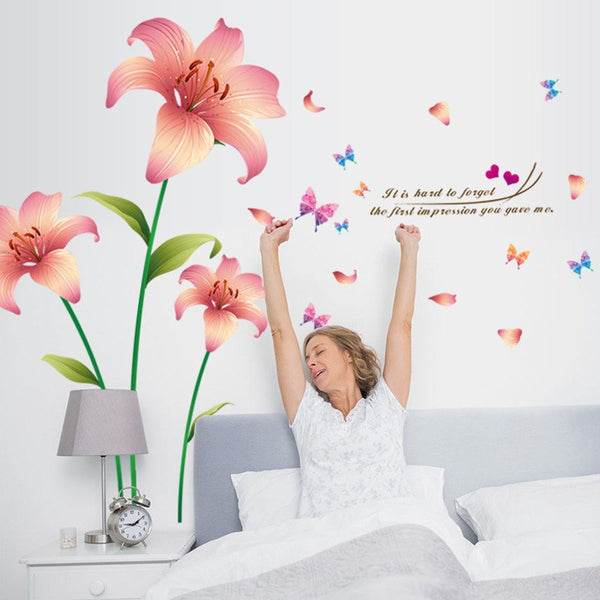 New 3D Love Lily pink Flowers sitting room wall stickers