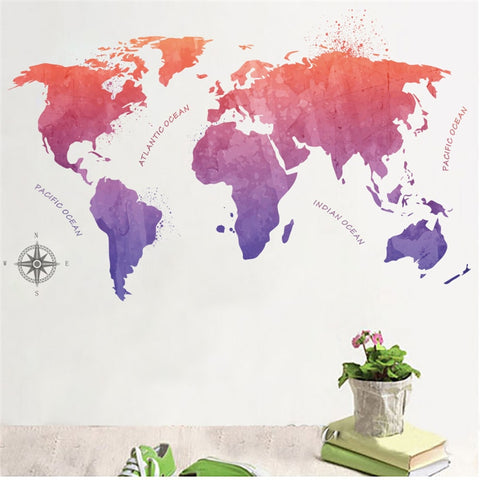 Colorful World Map Oecan Wall stickers