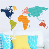 Colorful PVC 60x90cm World Map RemovableWall Stickers